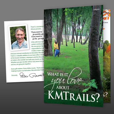 Donation Brochure Self-mailer for Kennebec Messalonskee Trails